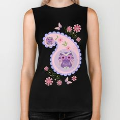 Retro paisley shapes with cute owls and flowers Biker Tank