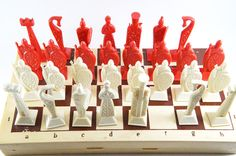 Chess set, Vintage chess, Chess pieces, Russian chess, Soviet chess, Red chess, Board game, Antique chess set, Collectible chess, Unique chess set, Antique chess pieces, Chess, Gift USSR This is a beautiful rare chess set. Chess made in Russian national style. Chess was made in