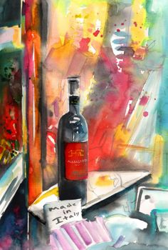 Vibrant watercolour painting in expressionist impressionist style of a bottle of Alabastro red wine seen in a wine shop window in Tuscany in Italy Reggae Art, Italy Painting, Wine Art, Watercolor And Ink, Figurative Art, Abstract Expressionism, Art For Sale, Still Life, Original Art
