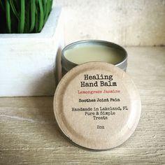 Lemongrass Jasmine Healing Hand Balm, 2oz by PureAndSimpleTreats on Etsy