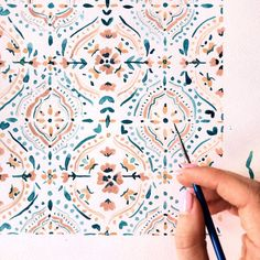 A loose & freehanded tile pattern inspired by Moroccan tiles 🌴🌞⁣ ⁣ Watercolor Pattern, Watercolor Art, Tile Patterns, Print Patterns, Painting Inspiration, Art Inspo, Guache, Painting & Drawing, Cool Art