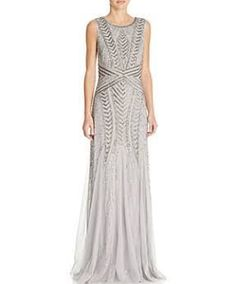 11c249673fc2 Adrianna Papell Gown - Square Neck Cap Sleeve Beaded Open Back Godet Women  - Bloomingdale s