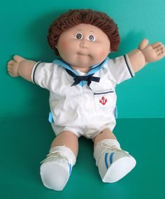 Cabbage Patch Boy Doll 1985 Coleco Auburn Loop Hair Brown Eyes Sailor Outfit #Coleco #DollswithClothingAccessories