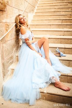Sherri Hill 51656 Light Blue Flowy Style Ypsilon Dresses Prom Pageant Evening Wear Homecoming Sweethearts School Dance Dress Special Occasion Formal Formalwear