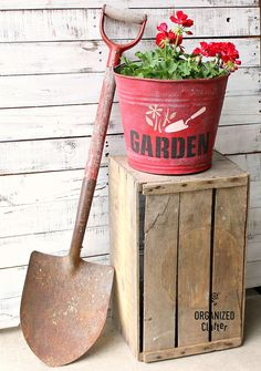 DIY Salvaged Junk Projects 477 Stenciled red Garden bucket planter by Organized Clutter, featured on Garden Nook, Garden Art, Garden Ideas, Planter Garden, How To Clean Furniture, Furniture Cleaning, Retro Furniture, Garden Furniture, Flower Bed Edging