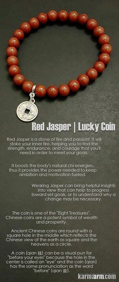 The GOOD #FORTUNE br  The GOOD  #FORTUNE  bracelet features Red  #Jasper  (nurturing | grounding | stabilizing | insight | drive) with antiqued silver Chinese Good  #Luck   #Coin .  .…..# Love  #Beaded   #Bracelet   #Yoga   #Chakra   #Mala   #Stretch   #Meditation   #handmade   #Jewelry   #Energy   #Healing   #Crystals   #Stacks   #pulseiras   #Bijoux   #Handmade   #Reiki   #Mala   #Buddhist   #Charm   #Mens   #Womens ….