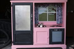 Childs kitchen built out of old entertainment center