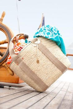 A Trina Turk must have! So many uses for this neutral tote from running around town to a weekend get away!