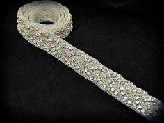Crystal Trim, 1 Yard Rhinestone Trim, Rhinestone Applique, Bridal Applique, DIY Wedding Applique, Sash Applique, Bridal Headpiece Ra027~m1027 * Be sure to check out this awesome item.