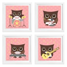 "45S - Pink Rock Band Musical Owls UNFRAMED Wall Art Print Set by Lee ArtHaus. This listing is for a reproduction art print of an original digital illustration by Lee ArtHaus only - frame NOT included. The watermark and copyright notice will not appear. SIZES To view all available sizes, select ""Size"" from the drop down menu. PRINTS Printed on archival matte paper with premium Epson inks which makes it water resistant and 100+ years fade resistant. The listed print size includes a .25 inch..."
