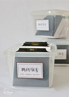 Are you tired of DVD boxes taking up so much space? Organize and streamline your DVDs with these simple DVD Storage Boxes with dividers! Dvd Storage Boxes, Storage Containers, Dvd Organization, Home Storage Solutions, My House, Organize, Clever, Homes, Bedroom