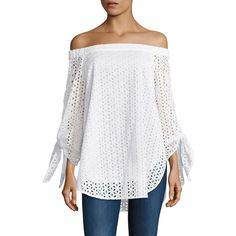 Tibi Antonina Eyelet Tunic ($295) ❤ liked on Polyvore featuring tops, tunics, apparel & accessories, grommet top, white off shoulder top, white eyelet tunic, white eyelet top and white off the shoulder top