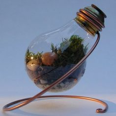 The source shows a few ways to reuse light bulbs as planters or decoration.  I always feel bad throwing away light bulbs (I always thought they were sort of elegant and pretty)--now maybe I can give them new life instead.