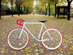 white & red fixed gear bike