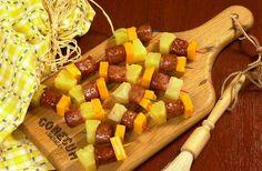 Hawaiian Conecuh Sausage Sausage Kabobs, Sausage Appetizers, Gourmet Appetizers, Appetizer Recipes, Conecuh Sausage Recipe, Smoked Sausage Recipes, Southern Recipes, Southern Food, Football Food