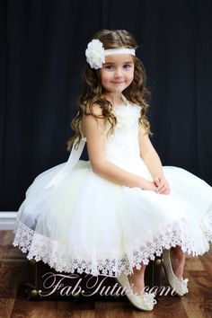 Ivory flower girl dress with vintage venice lace trim by FabTutus