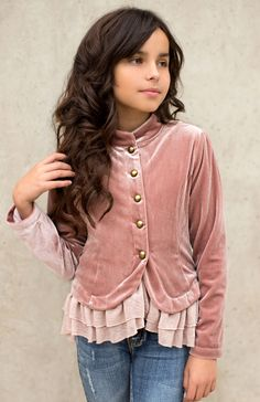 d31d2be7b6b A luxe velvet military-inspired jacket featuring an adorable knit ruffle  hem and classy antique brass buttons is the perfect ...