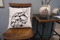 Rabbit with rabbits on a pillow by Danish illustrator Sofie Børsting. #sofieboersting #kidsroom #pillow #rabbit