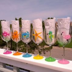 Seashore Gal Pals Party hand painted wine by GlassesbyJoAnne, $96.00