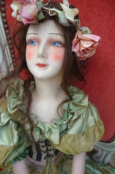 RARE Antique French Boudoir Doll Natacha Rambova Silk Corset Natural Hairs | eBay