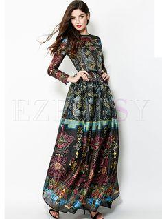 Vintage Floral Print Big Hem Waist Maxi Dress