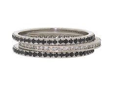 Trio of Black and White Diamond Micro Pave Eternity Rings in 18K