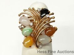 1950s Genuine Multi Color Jadeite Jade Diamond Stunning Swirly 14k Gold Ring #FashionRightHandStatement