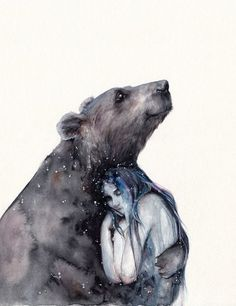 This is the original piece! Watercolor, white gel pen, Fine Art Paper cm (approx The painting will be shipped in a cardboard sleeve with plastic front and back for added protection. THIS IS NOT A PRINT. Art And Illustration, Watercolour Illustration, Fantasy Kunst, Fantasy Art, Spirit Bear, Bear Spirit Animal, Love Bear, Bear Art, Art Drawings