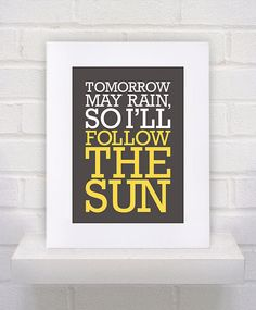 The Beatles Lyrics - I'll Follow the Sun - 11x14 - poster print
