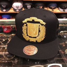 dbe33216086aa Details about Mitchell   Ness Dominican Republic DR Snapback Hat Cap All  Black GOLD Emblem