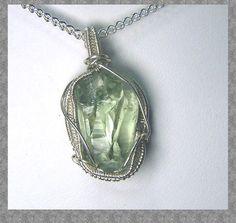 Prasiolite crystal  necklace pendant  Sterling by mandalarain, $38.00