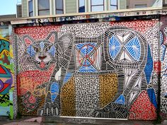 Really cool mountain lion mural by Michael Kershnar, Mission District, Clarion Alley, San Francisco