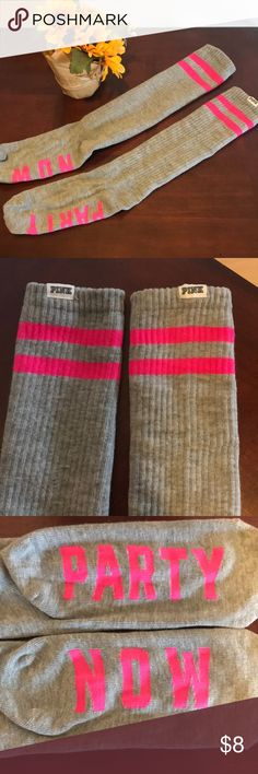 """PINK Socks Brand New. Never worn. Bottoms of socks say """"Party Now"""" PINK Victoria's Secret Accessories Hosiery & Socks"""