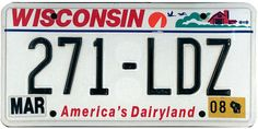 This is the official license plate for the state of Wisconsin as it has been officially adopted by the state legislature. Also known as a vehicle registration plate, it is used to identify the car and owner of a motor vehicle or trailer in the state.