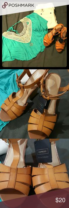 Express Runway Collection Fabulous Express wedge sandals. New never worn with tag. Color in pictures represents the color well. They have been sitting in a bin so there are slight flaws in which the price reflects. One small pin point marking on side of heel (shown in last pic) slight marking to top of sandal near front. Looks like a line pressed onto the leather. Express Shoes Espadrilles