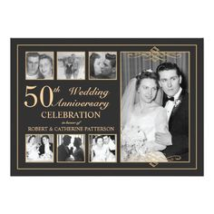 Classic Gold & Black Photo Wedding Anniversary Card