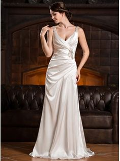 Trumpet/Mermaid V-neck Court Train Charmeuse Wedding Dress With Ruffle Beading Appliques Lace Sequins