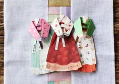 Hanbok korean traditional woman dress card 3 set