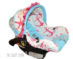 Pink Aqua Anchor and Grey Infant car seat cover by SassyStork, $89.99