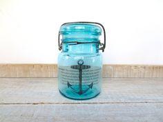 Nautical Decor // Blue Mason Jar // Vintage ANCHOR // Air Plant Holder // Definition Print // Beach House // Vase // Coastal Ocean Sea Side