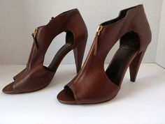 f3ae2ecf8b5c Vince Camuto Women s Shoes Sz 10 High Heels Dress Brown Open Toe With  Zipper  VinceCamuto