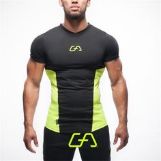 Men T S Shirt Top Tee Bodybuilding Gym New Short Sleeve Tight Fashion Muscle Man #MenTChina #VNeck