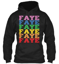 Faye Rainbow Colors Black Sweatshirt Front
