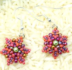 Seed bead handmade bead woven earrings, dangle earrings, peyote stitch, red, purple, green, ready to ship