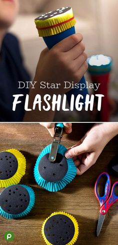 Light up their imaginations like the starry night sky! All you need to turn a regular flashlight into a glowing display is black construction paper, cupcake liners from Publix, rubber bands, a glue st Indoor Activities, Summer Activities, Toddler Activities, Preschool Activities, Indoor Games, Family Activities, Toddler Fun, Toddler Crafts, Black Construction Paper