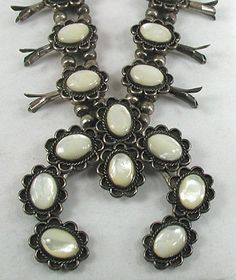 Excellent Vintage Navajo Mother of Pearl Squash Blossom Necklace with Bracelet, Ring and Post Earrings