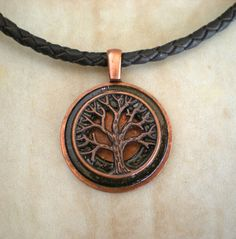 Black tree of life necklace, tree necklace, mens necklace, celtic jewelry…