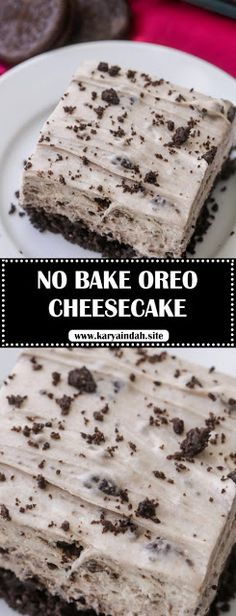 No Bake Oreo Cheesecake - a delicious no bake dessert filled with everyone's favorite cookie. It's so simple and delicious! INGREDIENTS 48 O. No Bake Oreo Recipe, Oreo Cheesecake Recipes, Cheesecake Desserts, Oreo Cake, No Bake Desserts, Oreo Desserts, Savoury Cake, Desert Recipes, Yummy Treats