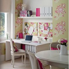Feminine and practical home office area.