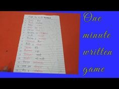 One minute written game. Kitty Party Games, Kitty Games, Cat Party, One Minute Games, Paper Games, Names, Writing, Youtube, Being A Writer